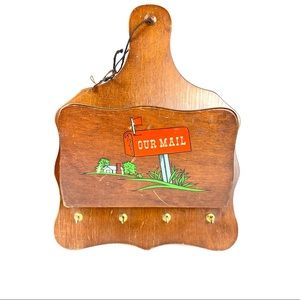 Vintage Wooden Mail & Key Wall Organizer